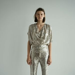 NWT Zara Sequinned Top
